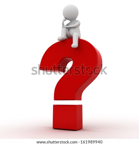 3d man sitting on red question mark over white background - stock photo