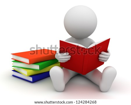 3d man sitting on the floor and reading a book over white background - stock photo