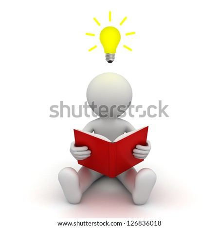 3d man sitting on the floor and reading a book with idea bulb above his head over white background - stock photo