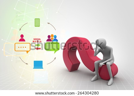 3d man sitting on the question mark - stock photo