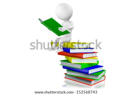 3d man sitting reading a hardcover book balanced on top of a pile of books arranged in a haphazard manner, isolated on white.