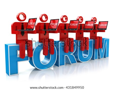 3d man sitting with a laptop on the word forum. render on white background in the design of the information related to the communication on the Internet. 3d illustration - stock photo