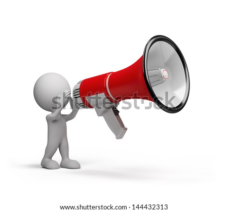 3D man speaks in a big megaphone. 3d image. White background.