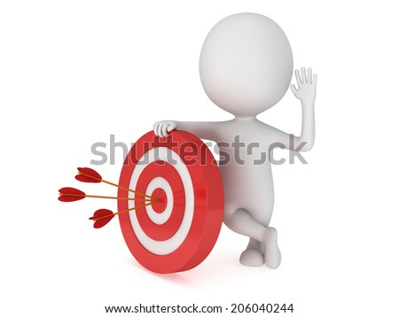 3D man stand near red aim target with three arrows. Goal, luck, strategy, game, business concept.