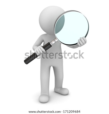 3d man standing and holding magnifying glass isolated over white background - stock photo