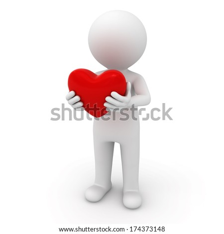 3d man standing and holding red heart over white background