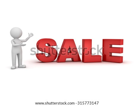 3d man standing and presenting big red sale word isolated over white background