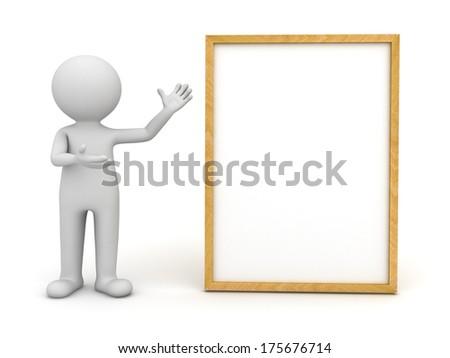3d man standing and presenting blank board or sign isolated over white background - stock photo