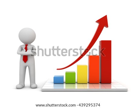 3d man standing and presenting growth business graph with red rising arrow concept isolated over white background with reflection. 3D rendering. - stock photo