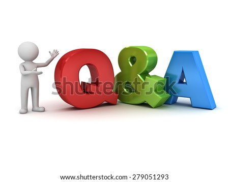 3d man standing and presenting Q and A word questions and answers concept isolated over white background
