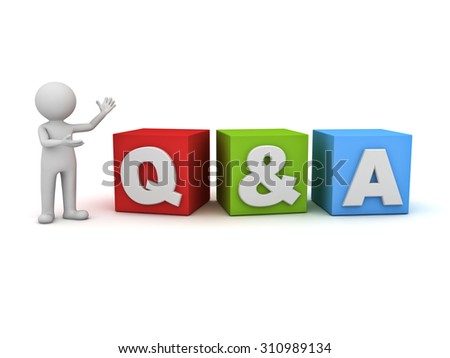 3d man standing and presenting Q and A word questions and answers concept isolated over white background - stock photo
