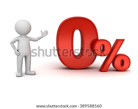 3d man standing and presenting red zero percent or 0 % isolated over white background abstract concept