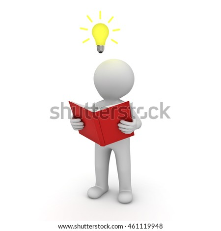 3d man standing and reading a book with idea bulb above his head isolated over white background. 3D rendering.