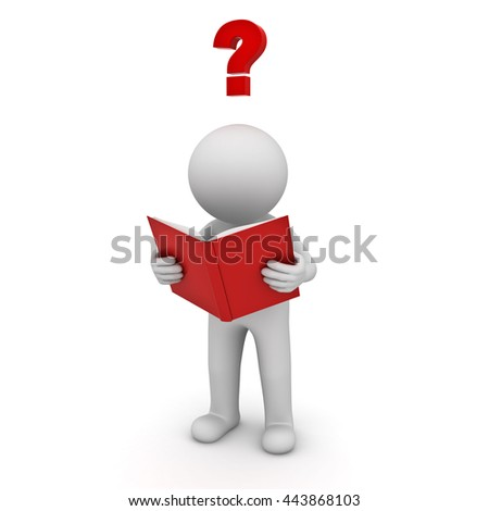 3d man standing and reading a book with red question mark isolated over white background. 3D rendering.