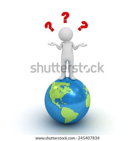 3d man standing on blue globe and having no idea with red question marks above his head isolated over white background - stock photo