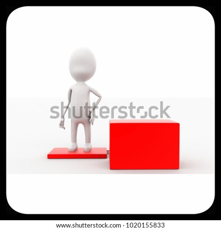3d man standing on box concept in white isolated background , front angle view