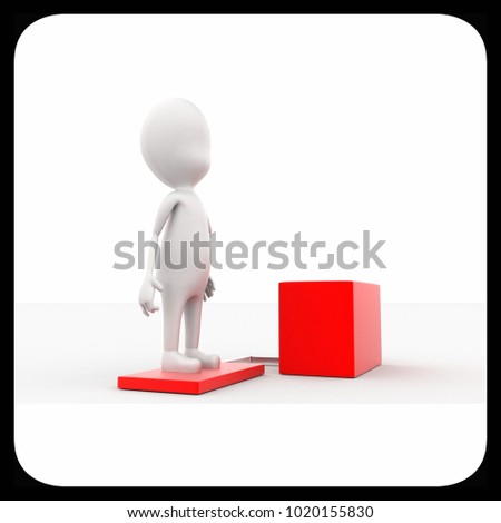 3d man standing on box concept in white isolated background , side angle view