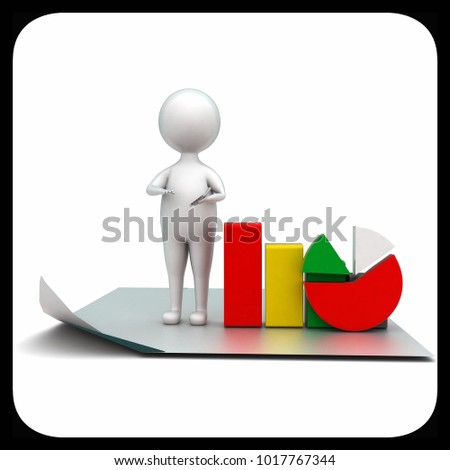 3d man standing on plain paper presenting pie chart and bar graph concept in white isolated background - 3d rendering ,  front angle view