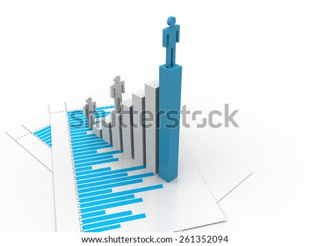 3d man standing on the graph - stock photo