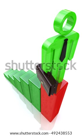 3d man standing on top of growth business red bar graph, business concept in the design of information related to business and economy. 3d illustration