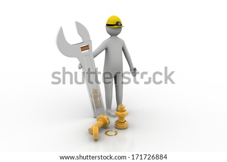 3d man standing with a steel wrench