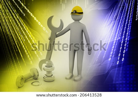 3d man standing with a steel wrench - stock photo