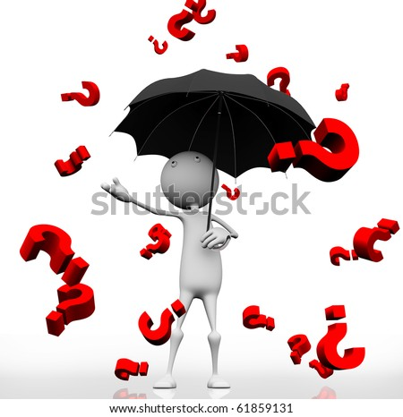 3d man standing with an umbrella with rain dripping from the sky red question mark. - stock photo