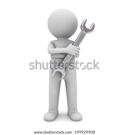 3d man standing with arms crossed and holding wrench for maintenance services isolated over white background