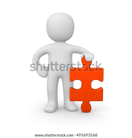 3d man standing with puzzle piece. 3d render.