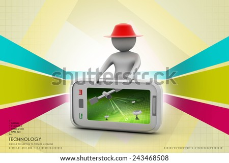 3d man standing with smart phone - stock photo