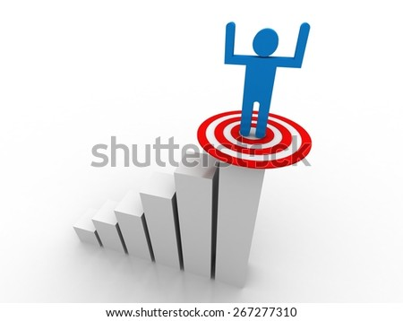 3d man stepping up to his successful goal on top of business graph  - stock photo