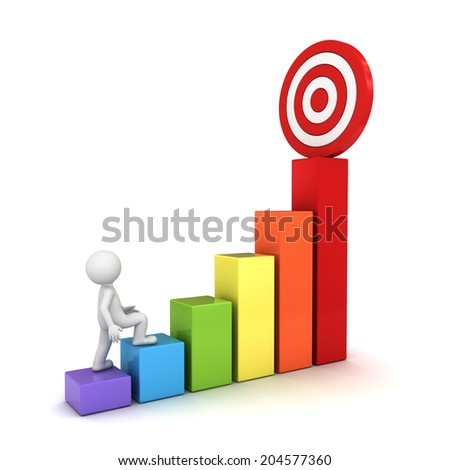 3d man stepping up to his successful goal on top of business graph isolated over white background - stock photo