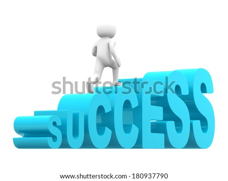 3d man steps up on success text ladder - stock photo