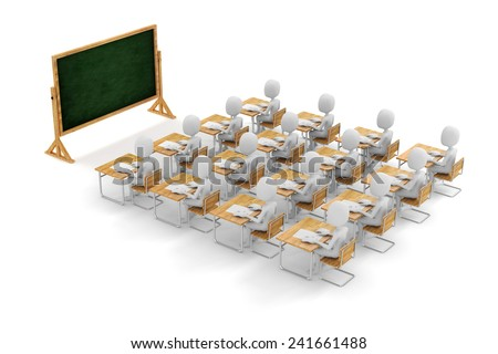 3d man student in classroom, on white background - stock photo