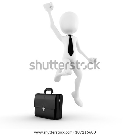 3d man success in business, on white background - stock photo