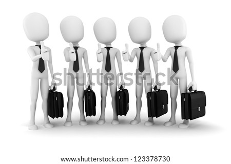 3d man success in business; on white background - stock photo