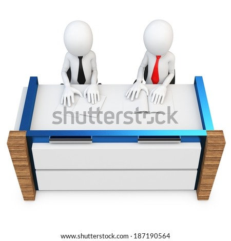 3d man support people working at desk on white background - stock photo