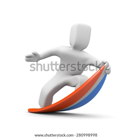 3d man surfing - stock photo