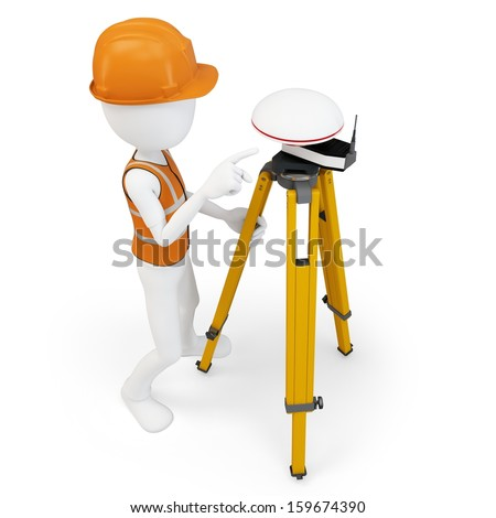 3d man surveyor with GPS station on white background - stock photo