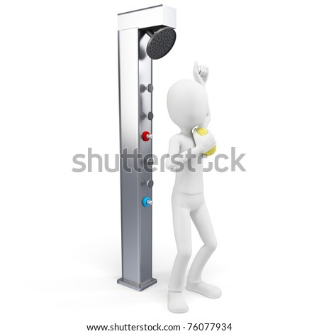 3d man taking a shower isolated on white