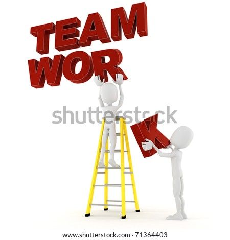 3d man team work - stock photo