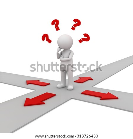 3d man thinking and confusing with four red arrows showing four different directions wondering which way to go over white background - stock photo