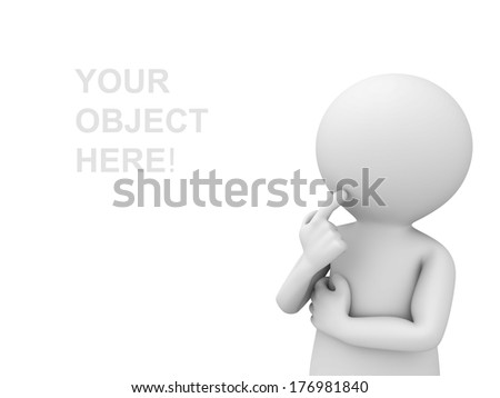 3d man thinking and looking at empty space over white background - stock photo