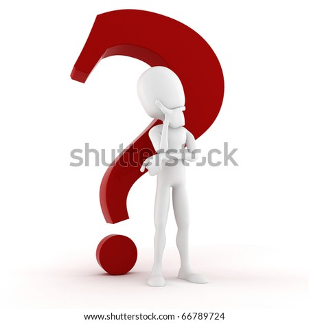 3d man thinking at  something, with a big red question mark behind him - stock photo