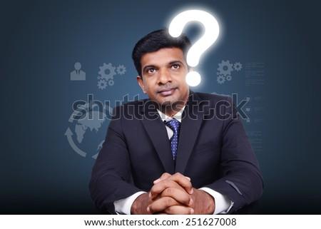 3d man thinking doubt - stock photo