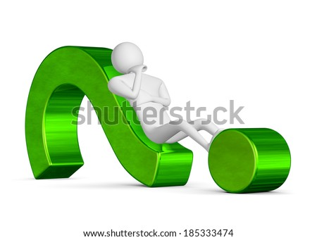 3d man thinking, holding his chin with his hand, lying on green question mark isolated on white - stock photo