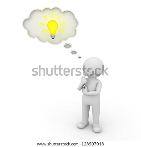 3d man thinking with thought bubble and idea bulb over white background