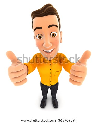 3d man thumbs up, isolated white background