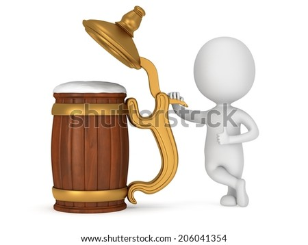 3D man thumbs up stand near toby jug with foam beer isolated on white. Beer, pub, octoberfest concept - stock photo