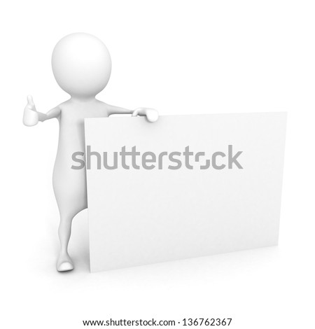 3d man thumbs up with a empty business card on white background